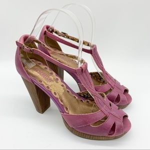 SEYCHELLES heeled purple leather sandals, 6.5.